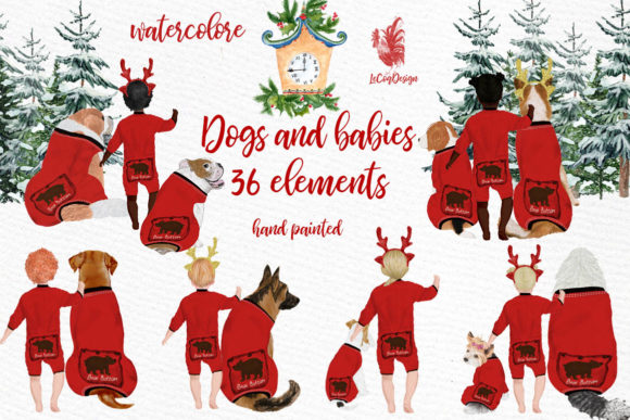 Christmas Babies Dogs Clipart Graphic Illustrations By LeCoqDesign