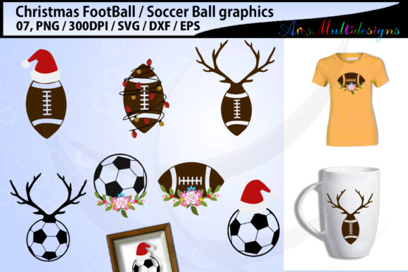Download Free Christmas Football Soccerball Graphic By Arcs Multidesigns for Cricut Explore, Silhouette and other cutting machines.