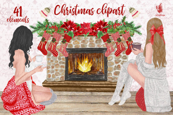 Christmas Girls Clipart Grafik Illustrationen von LeCoqDesign