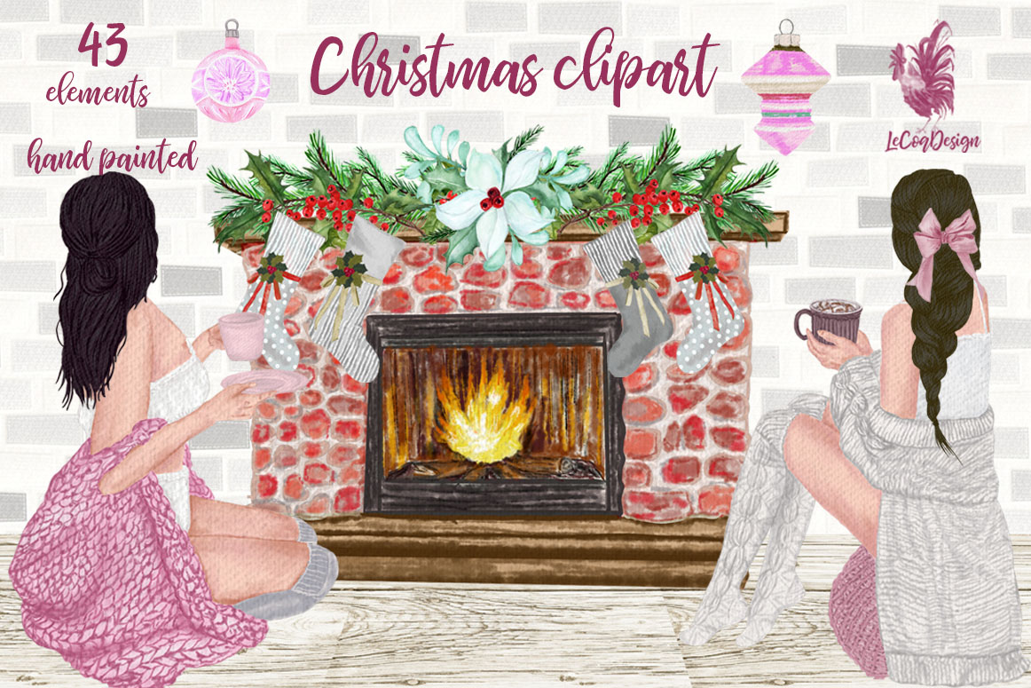 Download Free Christmas Girls Clipart Graphic By Lecoqdesign Creative Fabrica for Cricut Explore, Silhouette and other cutting machines.