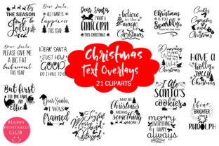 Christmas Holidays Text Overlays Clipart Graphic By Happy Printables Club