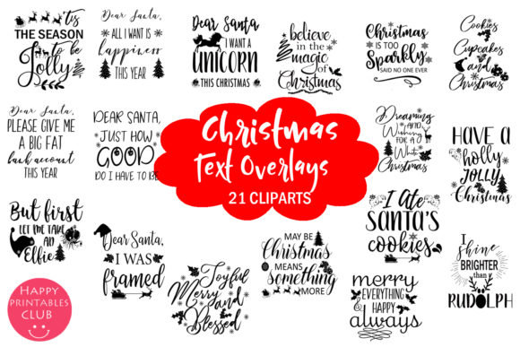 Download Free Christmas Holidays Text Overlays Clipart Graphic By Happy for Cricut Explore, Silhouette and other cutting machines.
