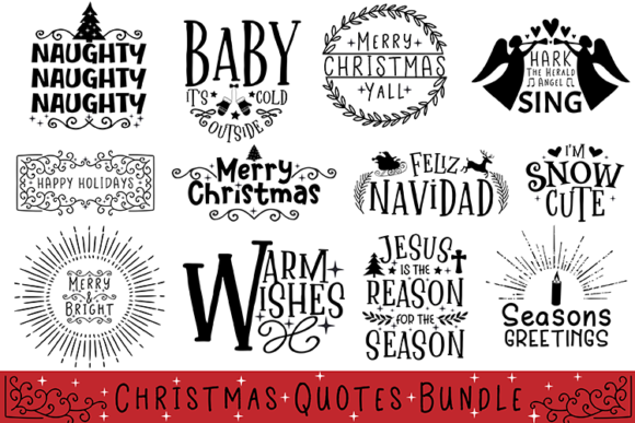 Christmas Quotes Bundle Graphic Crafts By carrtoonz