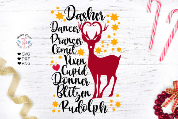 Christmas Reindeer Names Gráfico Crafts Por GraphicHouseDesign