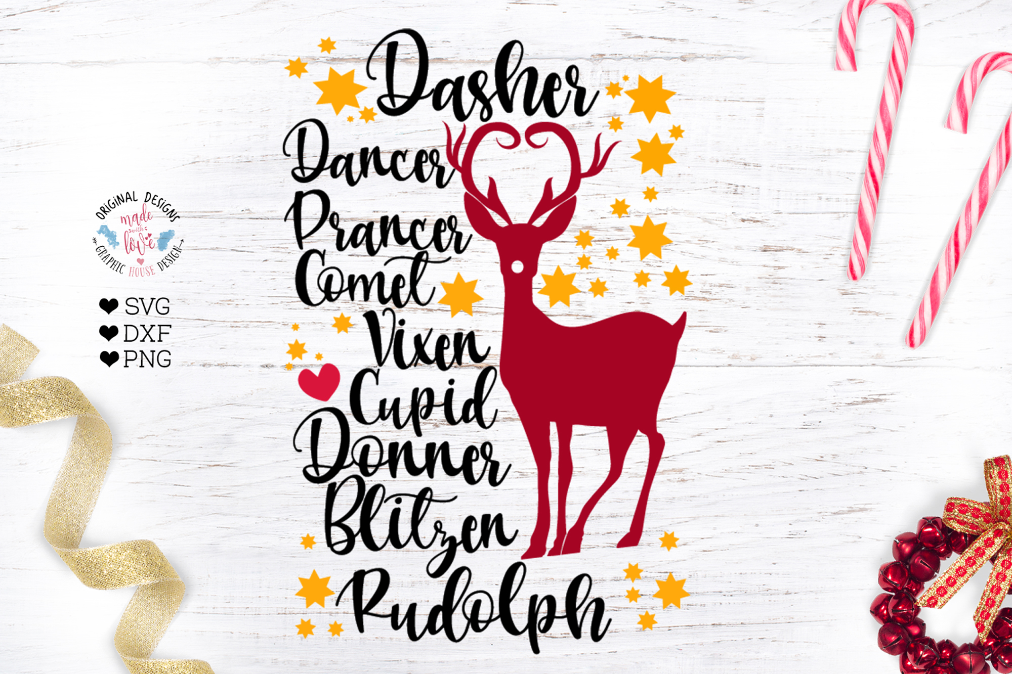 Download Free Christmas Reindeer Names Graphic By Graphichousedesign for Cricut Explore, Silhouette and other cutting machines.