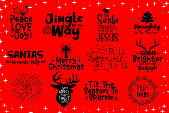 Download Free Christmas Bundle Graphic By Carrtoonz Creative Fabrica for Cricut Explore, Silhouette and other cutting machines.
