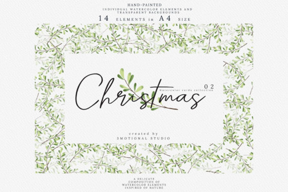Christmas Watercolor Cards Collection 02 Graphic By 3motional