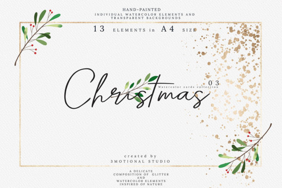 Print on Demand: Christmas Watercolor Cards Collection 03 Graphic Print Templates By 3Motional