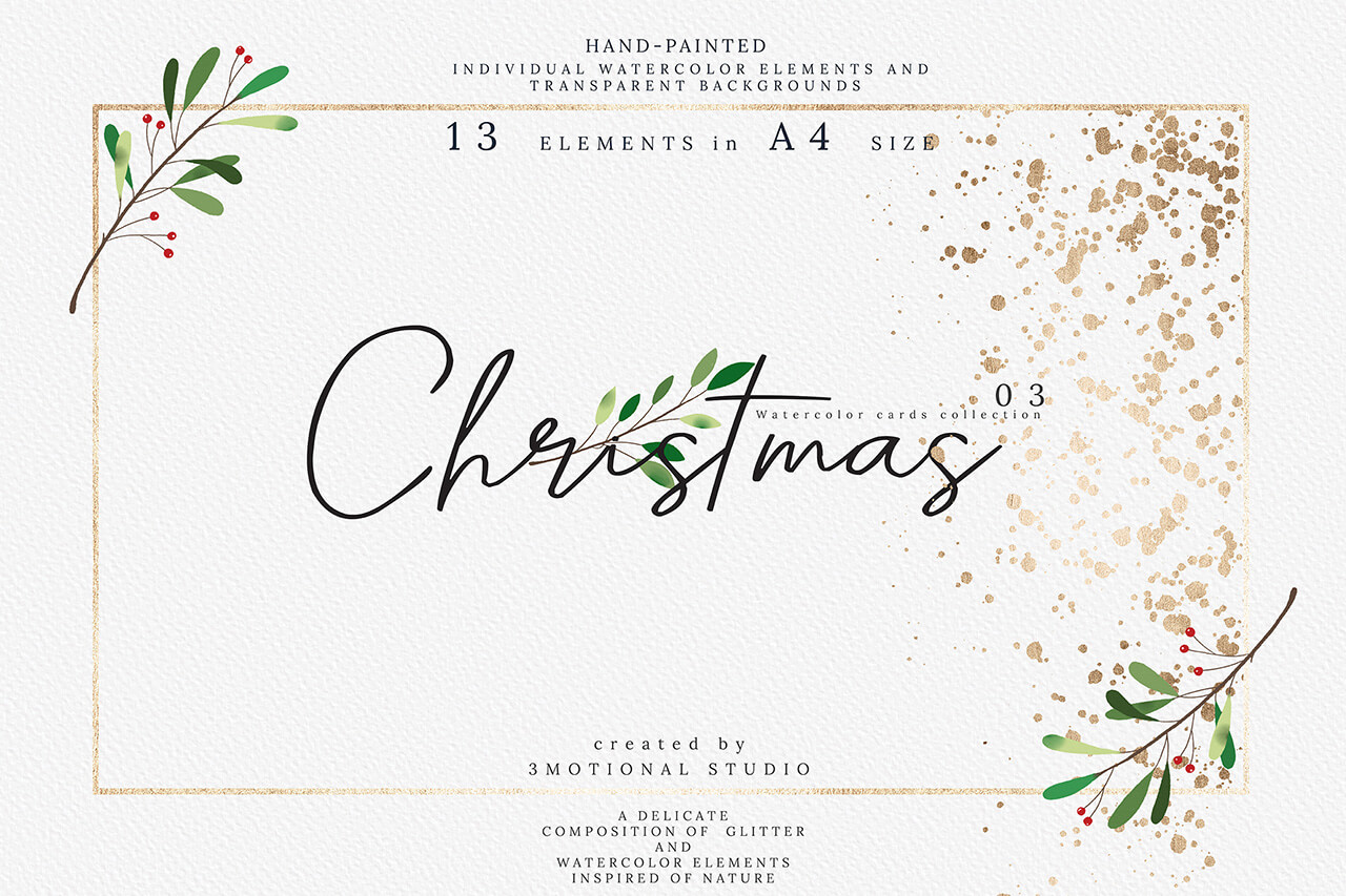 Download Free Christmas Watercolor Cards Collection 03 Graphic By 3motional for Cricut Explore, Silhouette and other cutting machines.