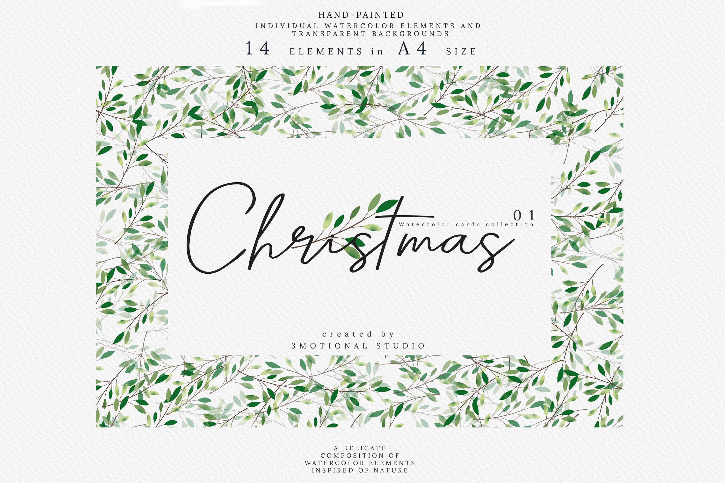 Download Free Christmas Watercolor Cards Graphic By 3motional Creative Fabrica for Cricut Explore, Silhouette and other cutting machines.