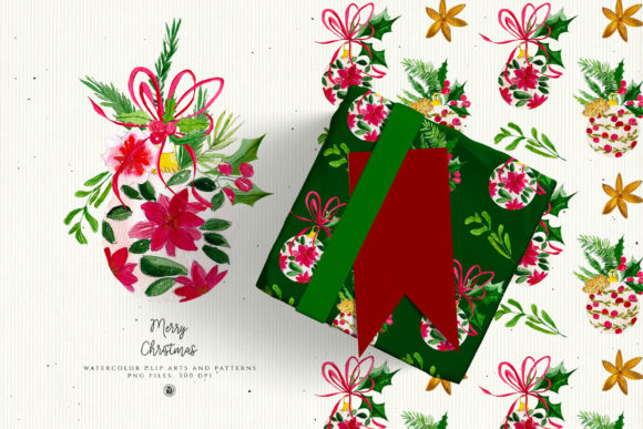 Christmas Watercolor Decorations Graphic Illustrations By webvilla - Image 3