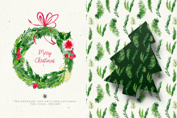 Christmas Watercolor Decorations Graphic Illustrations By webvilla - Image 1