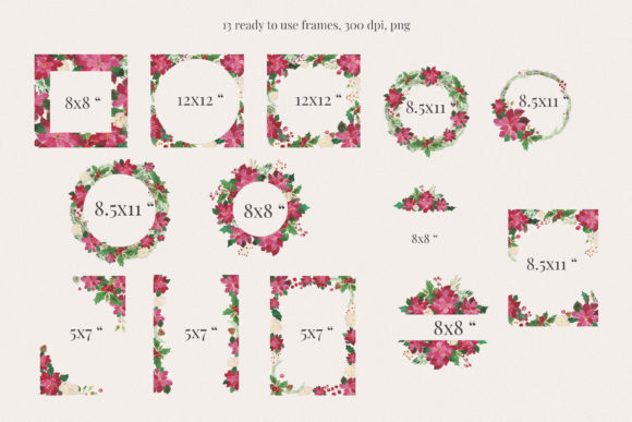 Print on Demand: Christmas Watercolour Frames with Poinsetia Graphic Illustrations By Primafox Design - Image 2