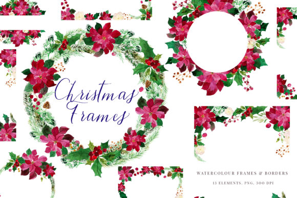 Print on Demand: Christmas Watercolour Frames with Poinsetia Graphic Illustrations By Primafox Design - Image 1