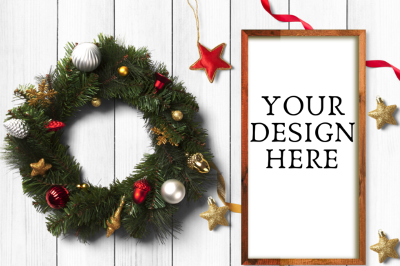 Print on Demand: Christmas Wooden Sign Flat Mock Up Graphic Product Mockups By Mockup Venue