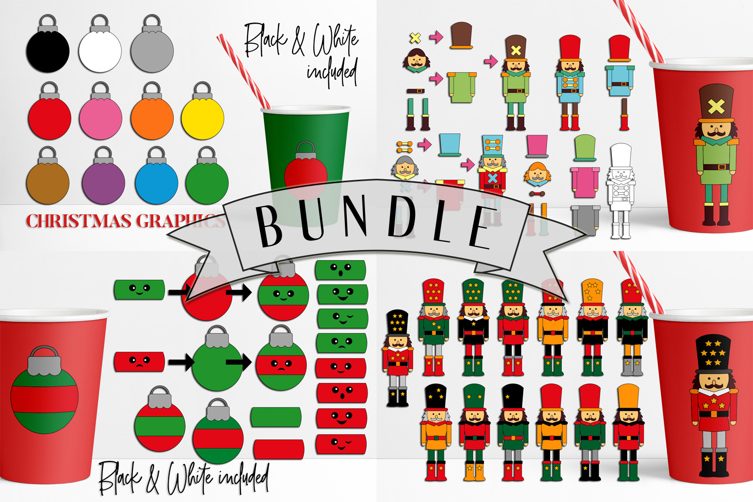 Download Free Christmas Clip Art Bundle Graphic By Darrakadisha Creative Fabrica for Cricut Explore, Silhouette and other cutting machines.