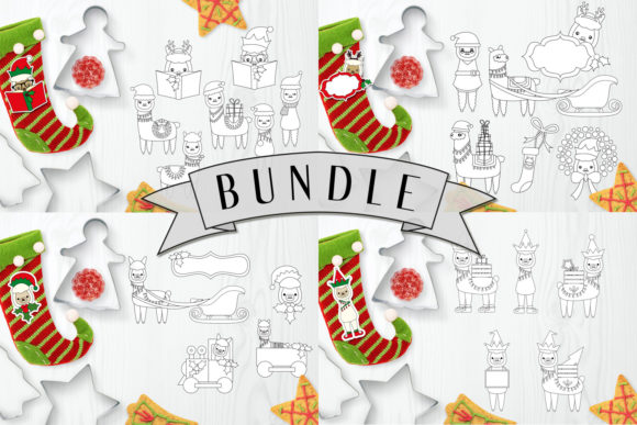 Download Free Christmas Llama Bundle Graphic By Darrakadisha Creative Fabrica for Cricut Explore, Silhouette and other cutting machines.