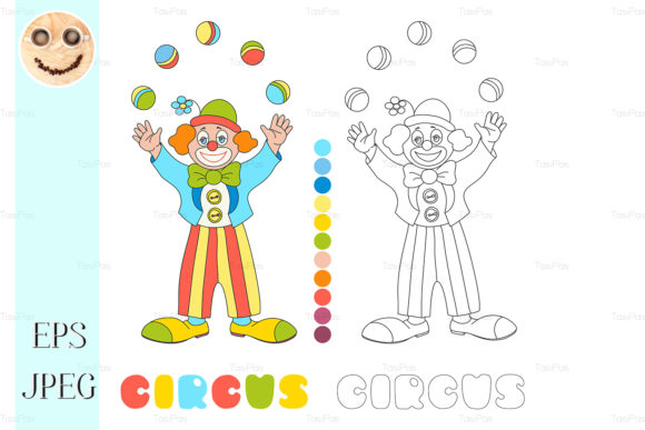 Circus Vector Clown Coloring Book Graphic By TasiPas
