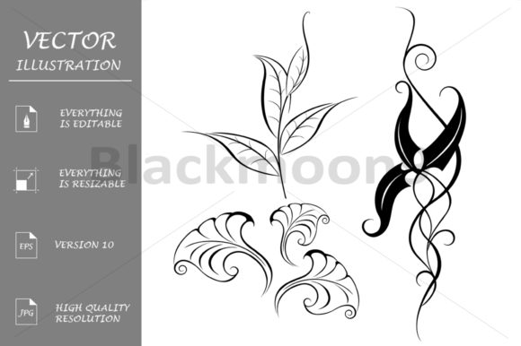 Download Free Collection Stylized Leaves Graphic By Blackmoon9 Creative Fabrica for Cricut Explore, Silhouette and other cutting machines.