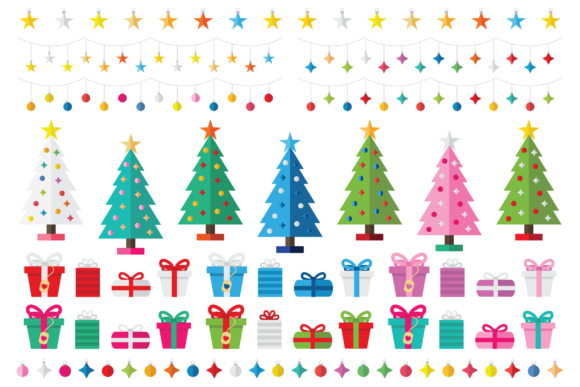 Print on Demand: Colorful Christmas Tree Party Clip Art Graphic Illustrations By Running With Foxes - Image 2