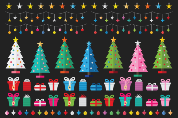 Print on Demand: Colorful Christmas Tree Party Clip Art Graphic Illustrations By Running With Foxes - Image 4