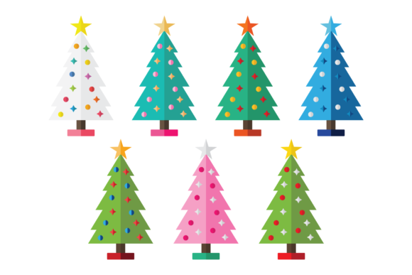 Colorful Christmas Tree Party Clip Art Graphic By Running With Foxes Image 6