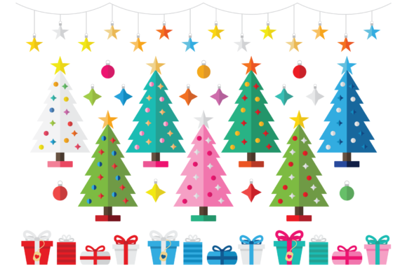 Print on Demand: Colorful Christmas Tree Party Clip Art Graphic Illustrations By Running With Foxes