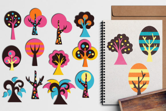 Print on Demand: Colorful Trees Graphic Illustrations By Revidevi - Image 1