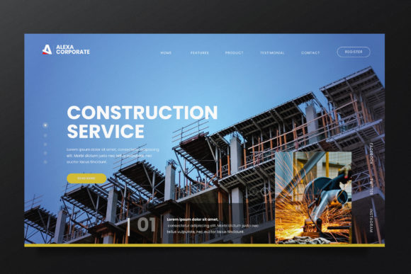 Construction  Web Header PSD and AI Graphic UX and UI Kits By alexacrib83