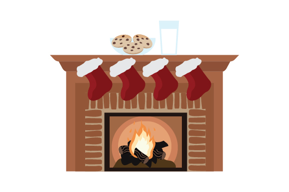 Cookies And Milk On Fireplace Svg Cut File By Creative Fabrica