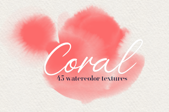 Print on Demand: Coral - 45 Watercolor Textures Graphic Textures By lovalu