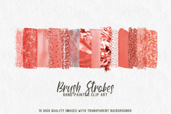 Download Free Coral Brush Strokes Clip Art Graphic By Lovalu Creative Fabrica for Cricut Explore, Silhouette and other cutting machines.