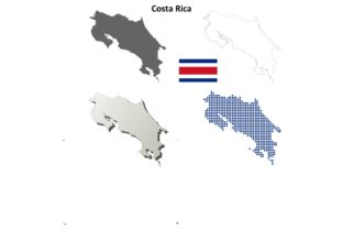 Costa Rica Outline Map Set Graphic Illustrations By davidzydd