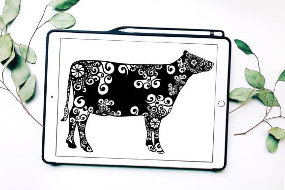 Cow Mandala Graphic Print Templates By Fortuna Prints