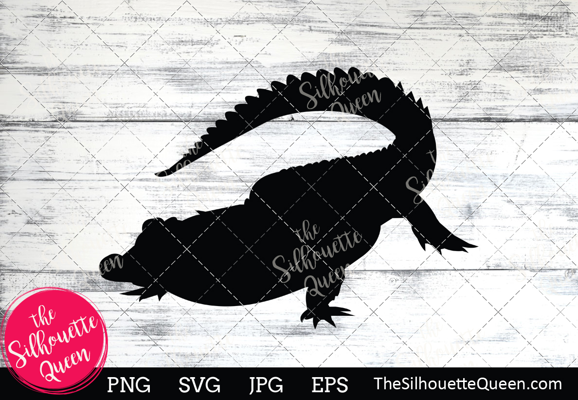 Download Free Crocodile Silhouette Graphic By Thesilhouettequeenshop for Cricut Explore, Silhouette and other cutting machines.