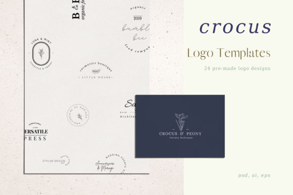 Print on Demand: Crocus Pre-made Logo Set of 24 Logos Graphic Logos By Primafox Design - Image 1