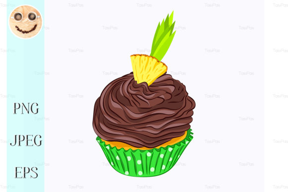 Print on Demand: Cupcake with Chocolate Cream, Pineapple Graphic Illustrations By TasiPas
