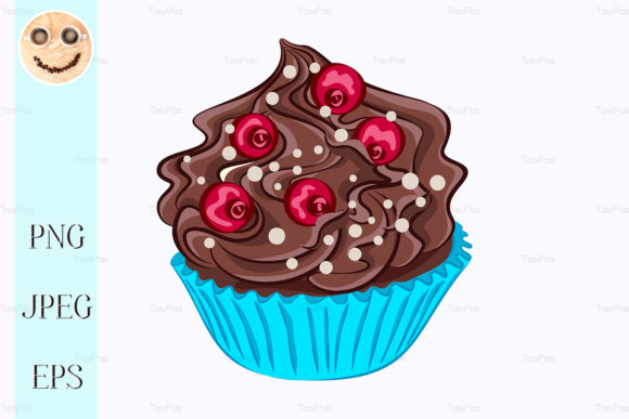 Print on Demand: Cupcake with Chocolate Cream, Red Berry Graphic Illustrations By TasiPas