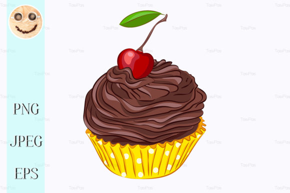 Print on Demand: Cupcake with Chocolate Cream and Cherry Graphic Illustrations By TasiPas