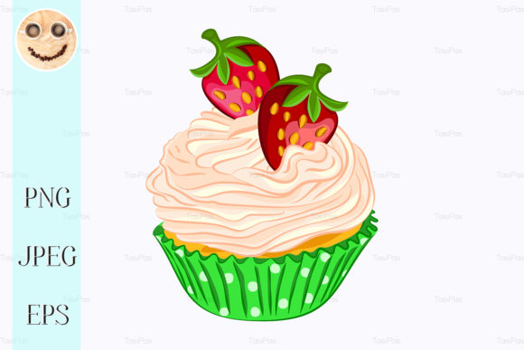 Print on Demand: Cupcake with Whipped Cream, Strawberry Graphic Illustrations By TasiPas