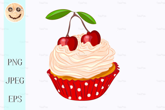 Print on Demand: Cupcake with Whipped Cream and Cherry Gráfico Ilustraciones Por TasiPas