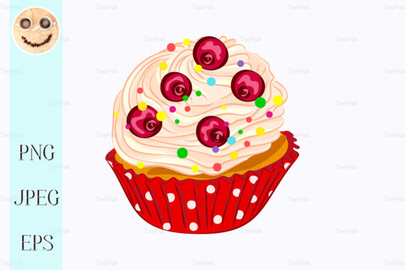 Print on Demand: Cupcake with Whipped Cream and Red Berry Graphic Illustrations By TasiPas