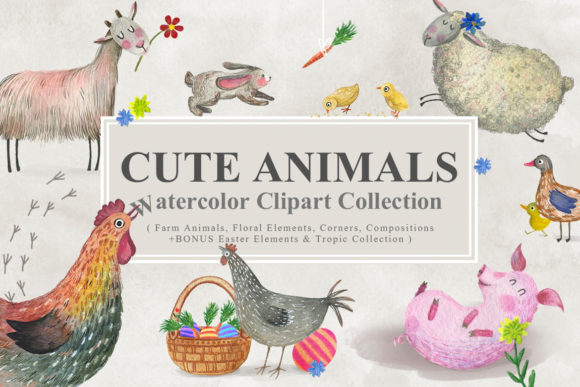 Cute Animals Watercolor Collection Graphic Illustrations By NassyArt
