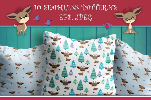 Download Free Cute Christmas Deer Seamless Patterns Graphic By Olga Belova for Cricut Explore, Silhouette and other cutting machines.