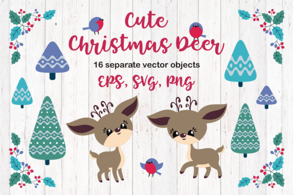 Print on Demand: Cute Christmas Deer Graphic Illustrations By Olga Belova