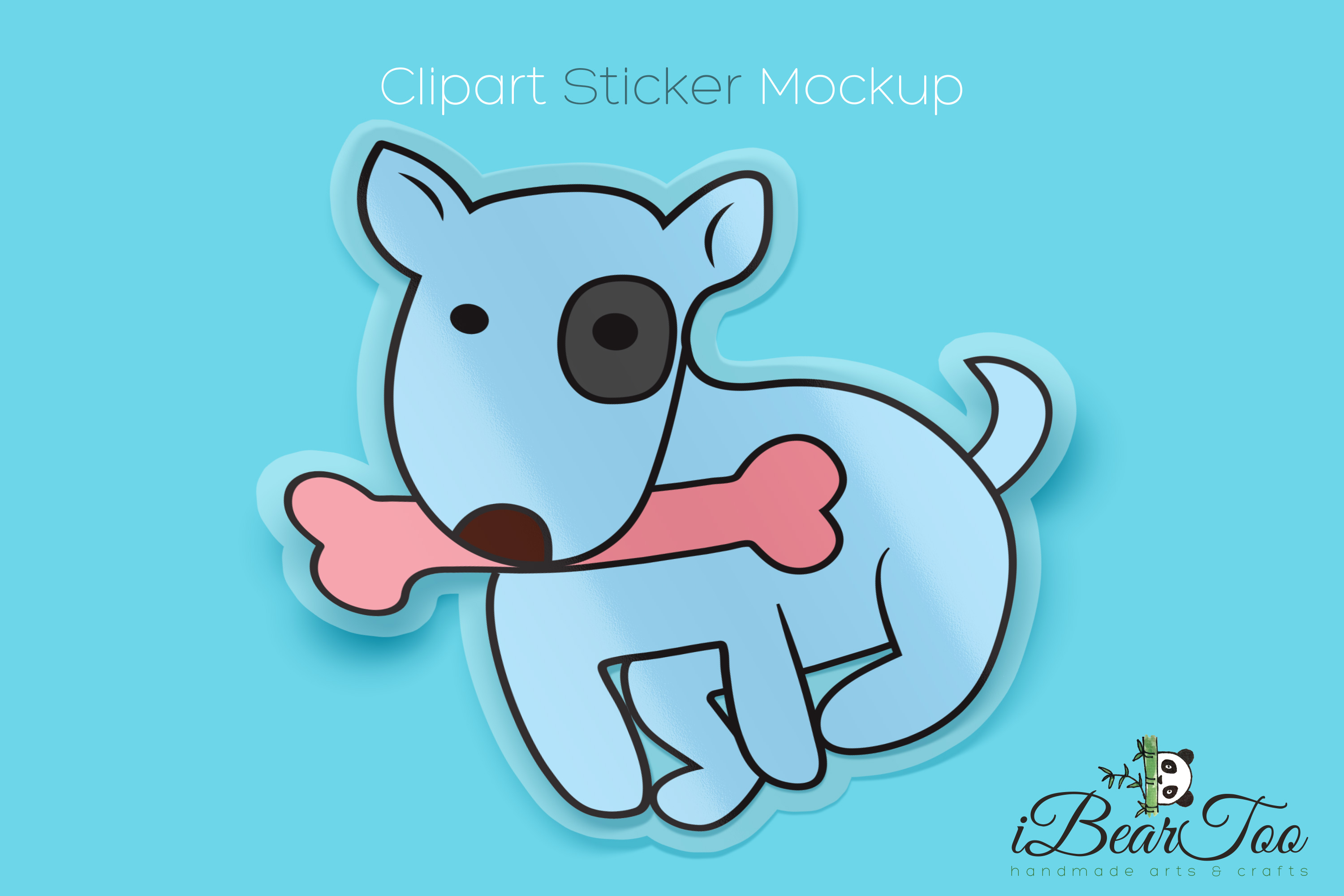 Download Free Cute Dog With Bone Svg Graphic By Ibeartoo Creative Fabrica for Cricut Explore, Silhouette and other cutting machines.