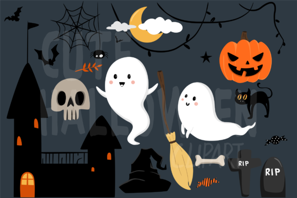 Download Free Cute Halloween Clipart Graphic By Geadesign Creative Fabrica for Cricut Explore, Silhouette and other cutting machines.