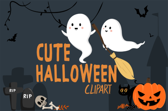 Print on Demand: Cute Halloween Clipart Graphic Illustrations By geadesign