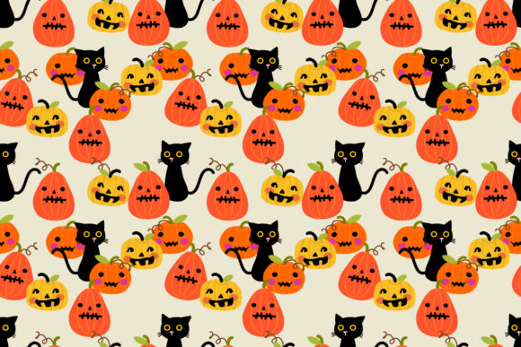 Cute Halloween Pumpkin And Black Cat Graphic By Thanaporn Pinp