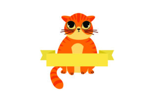 Cute Ginger Cat with Blank Banner Craft Design By Creative Fabrica Crafts